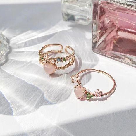 Bague ouverte de fleur de mode coréenne nouvelle bague d'amour de diamant de gemme artificielle NHJQ206542's discount tags