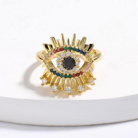 Oeil de cuivre micro incrusté de zircon coloré ouvrant la bague réglable NHJE206543's discount tags