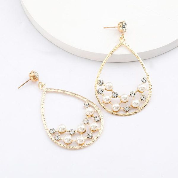 Drop-shaped alloy acrylic diamond and pearl earrings for women wholesale NHJE206547