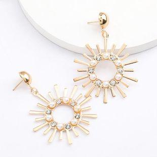 Sunflower alloy acrylic diamond and pearl geometric earrings female retro simple earrings NHJE206548's discount tags