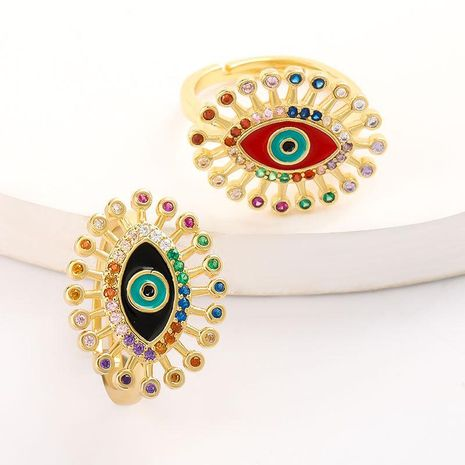 New oil drop eyes copper micro inlaid color zircon ring wholesale NHJE206551's discount tags