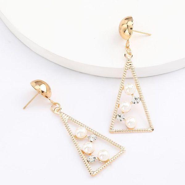 Triangle alloy acrylic diamond and pearl geometric earrings for women NHJE206552