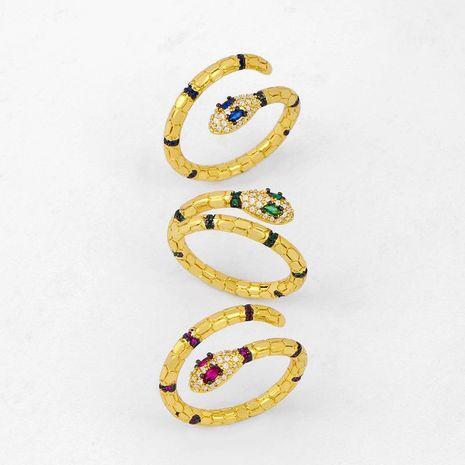 Bague serpent femme zircon micro-incrusté en forme de serpent bague ouverte diamant bague NHAS206555's discount tags