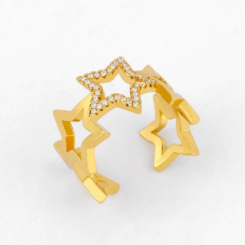 New fashion open ring pentagram star diamond ring female simple ring wholesale NHAS206558
