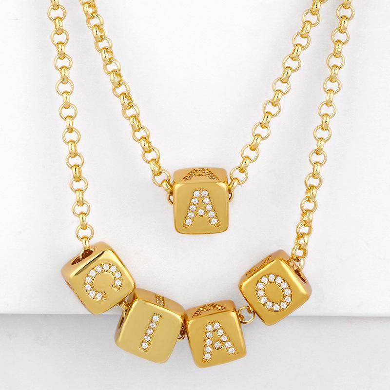 New fashion necklace 26 english alphabet necklace diy alphabet necklace wholesale NHAS206559
