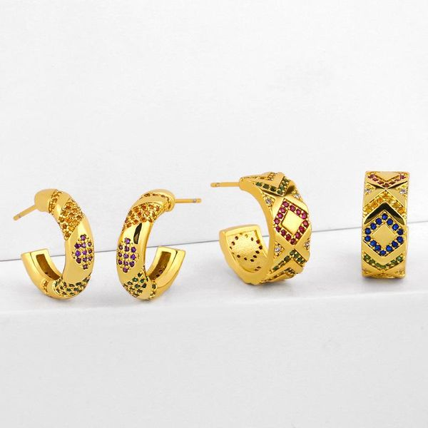 New retro stud earrings with geometric C-shaped micro-inlaid zircon stripes earrings wholesale NHAS206562