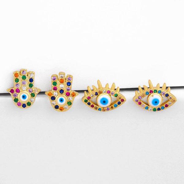 Fashion wild devil's eye earrings female diamond zircon earrings wholesale NHAS206566
