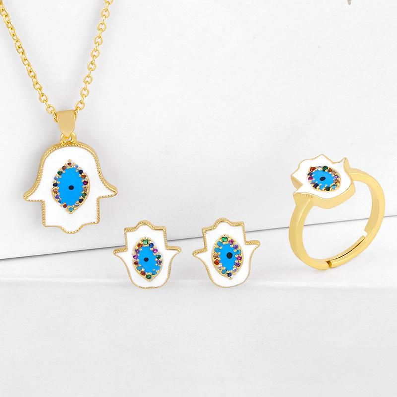 New Fashionable Fatima Hand Dripping Diamond Necklace Ring Earrings Set Wholesale NHAS206568