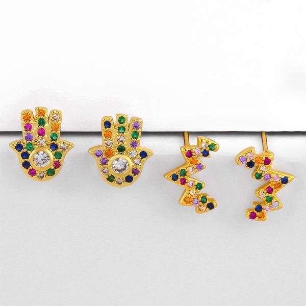 Micro inlaid colorful gem palm earrings fashion earrings NHAS206569
