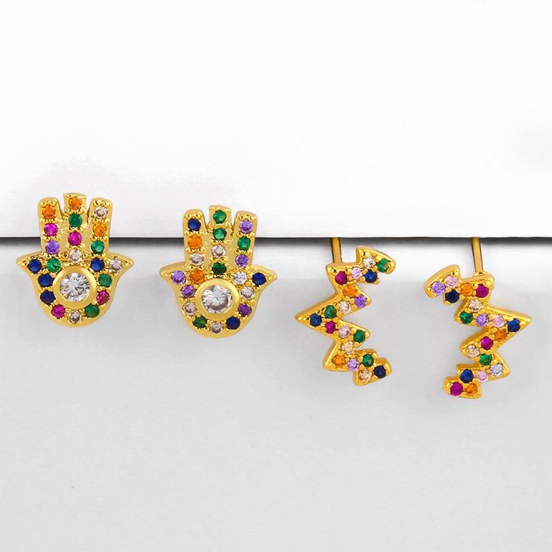 Micro inlaid colorful gem palm earrings fashion earrings NHAS206569