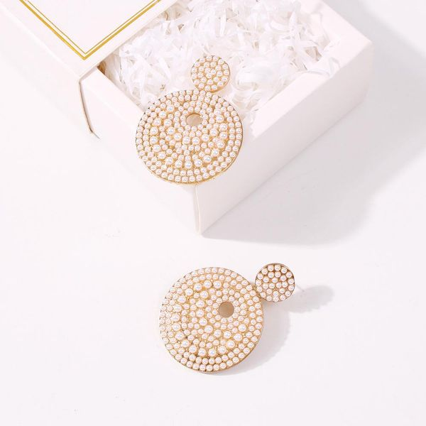New Fashion Baroque Pearl Round Earrings for women wholesale NHMD206573