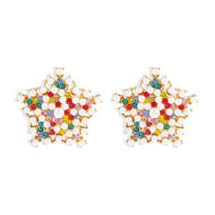 Korean new design earrings creative five-pointed star diamond pearl earrings women NHMD206577's discount tags