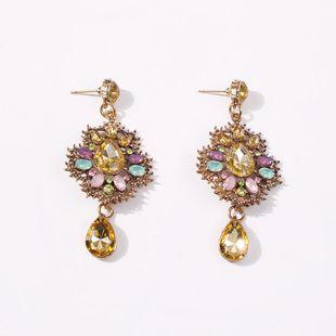 New drop-shaped earrings creative retro glass colored diamond wild earrings earrings women NHMD206581's discount tags