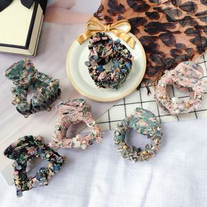 Spring new cloth broken floral fabric simple crystal grabbing hairpin top clip accessories women NHHI206599