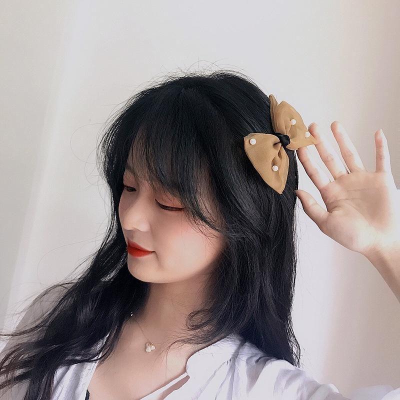 New Korean beaded yarn girl double-layer bow hair clip side clip hair accessories NHHI206602