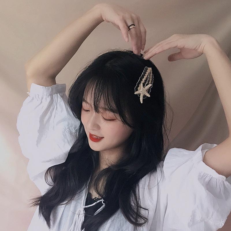 New Korean lace pearl starfish drop BB clip wholesale NHHI206605