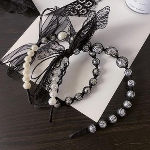 New retro style lace bag beads bow simple wild headband hair accessories NHHI206610's discount tags