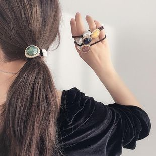 New Korean simple color round buckle love pearl wild cheap scrunchies wholesale NHHI206611's discount tags