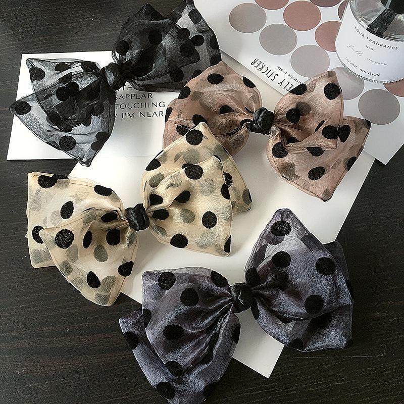New Korean Retro Polka Dot Mesh Gauze Double Bow Cheap Clip Spring Clip Wholesale NHHI206615