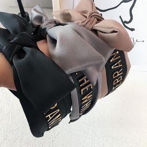 Korean new alloy letter satin wild simple double bow hair hoop women NHHI206619