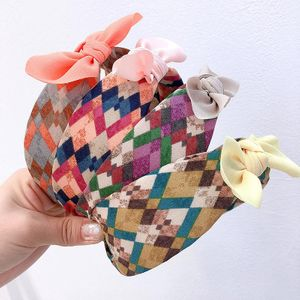 Korean new colorful gradient rhombus check wide top knot colorful small ears wild headband NHHI206622