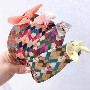 Korean new colorful gradient rhombus check wide top knot colorful small ears wild headband NHHI206622's discount tags