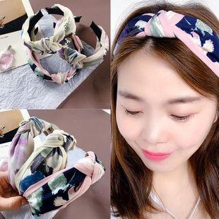 New Korean chiffon fabric color matching ink splash top knot simple wild headband wholesale NHHI206623's discount tags