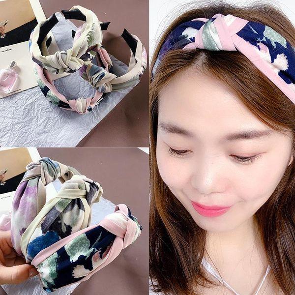New Korean chiffon fabric color matching ink splash top knot simple wild headband wholesale NHHI206623