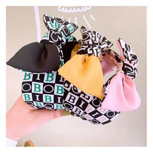 Korean retro style English alphabet spell color bow wild wide edge cheap hair hoop wholesale NHHD206630's discount tags