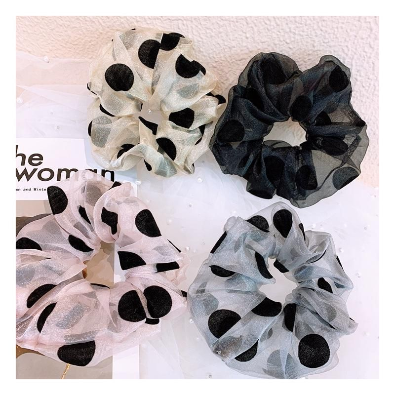 Korean vintage spun polka dot handmade cheap scrunchies wholesale NHHD206631