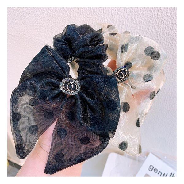 Korean vintage crystal transparent gauze cream dot dot cheap scrunchies wholesale NHHD206635