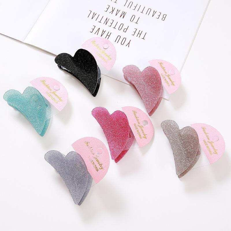 Korean Gold Powder Candy Color Acrylic Hair Clip Love Grab Clip Hair Clip Wholesale NHDM206652