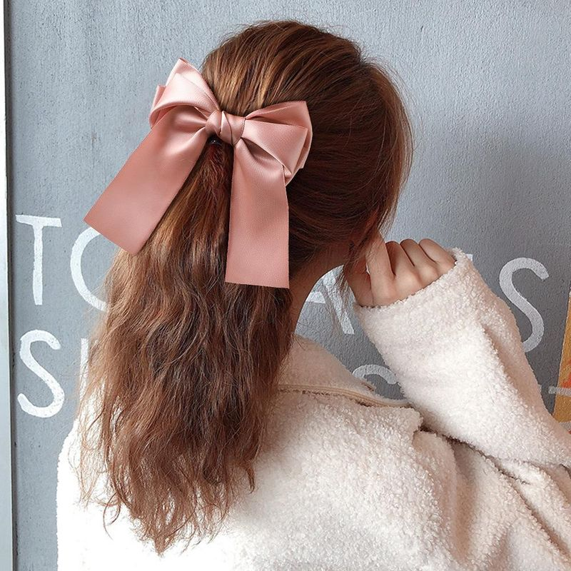 Three-layered satin fabric satin double-sided belt spring clip long ribbon ribbon bow cheap hair clip wholesale NHDM206662