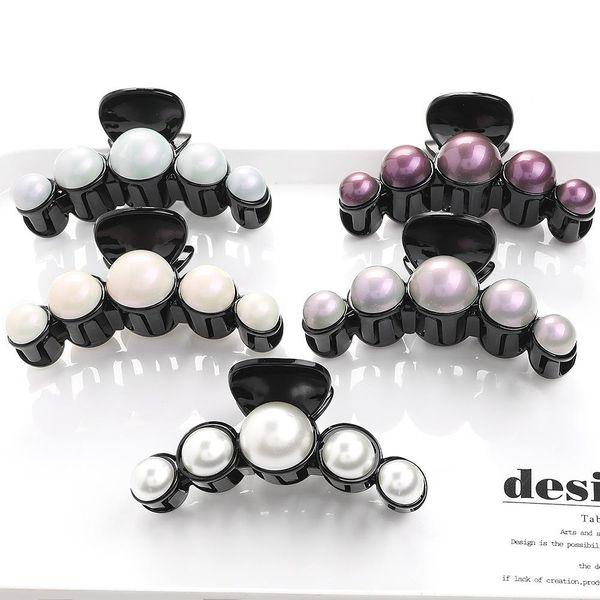 Color pearl hair clip acrylic large grab clip plastic cheap hair grab wholesale NHDM206664