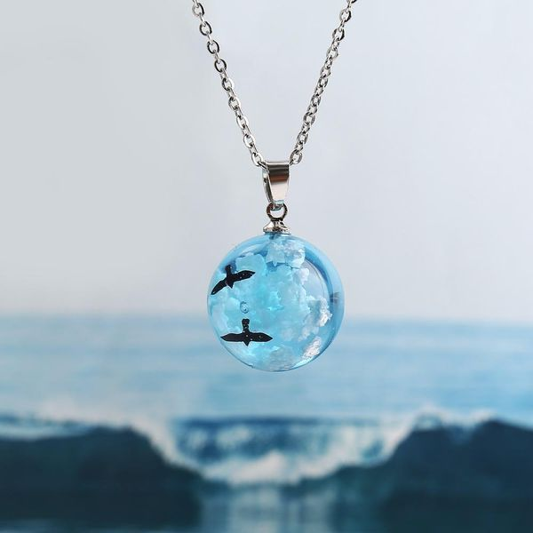 New blue sky white cloud bird necklace retro simple clavicle chain wholesale NHPJ206668