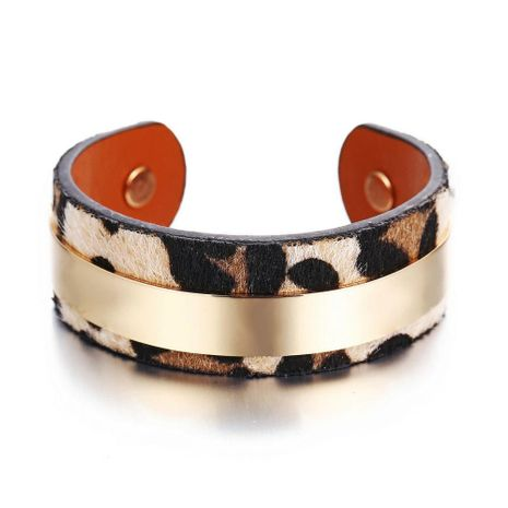 New Gold Bar Leopard Open Bangle Bracelet NHPJ206680's discount tags