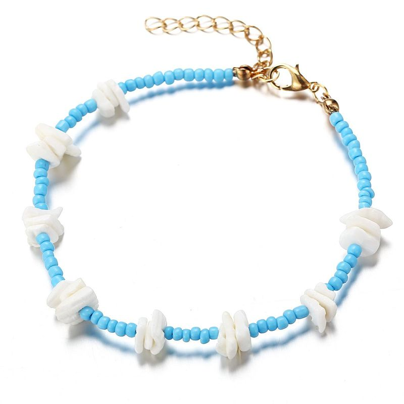 New broken shell hit color bead anklet retro simple blue anklet NHPJ206685