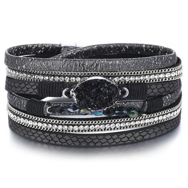 New Men's Black Bracelet Creative Retro Simple Magnetic Buckle Bracelet Wholesale NHPJ206695