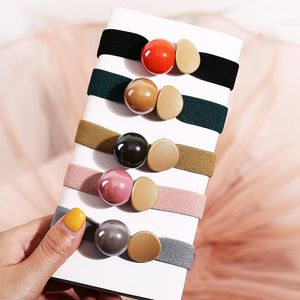 Korean simple thick rubber band candy color bright beads sweet cheap scrunchies wholesale NHPJ206700