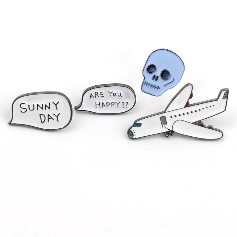 Korean new alloy oil drop airplane brooch skull badge brooch NHGO206705
