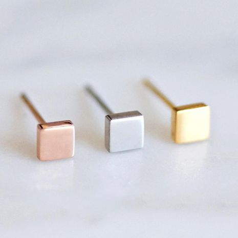 Korean new square jewelry simple stainless steel geometric square earrings NHJJ206709's discount tags