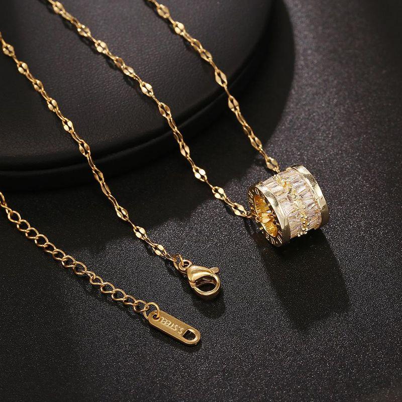 Simple Necklace Gold Titanium Full Diamond Zircon Titanium Steel Pendant Vacuum Plated 18K Gold Round Clavicle Chain NHJJ206715