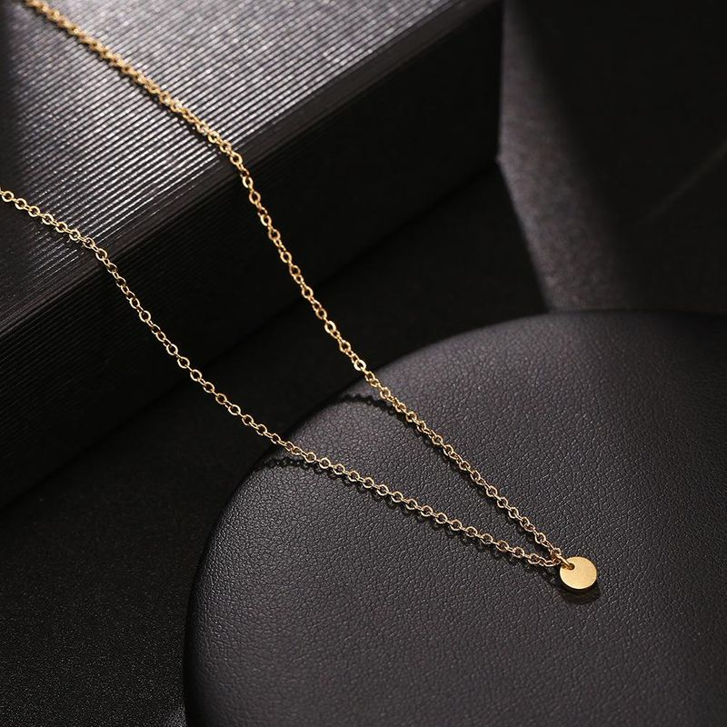 Korean glossy round necklace stainless steel polished gold coin pendant necklace wholesale NHJJ206716