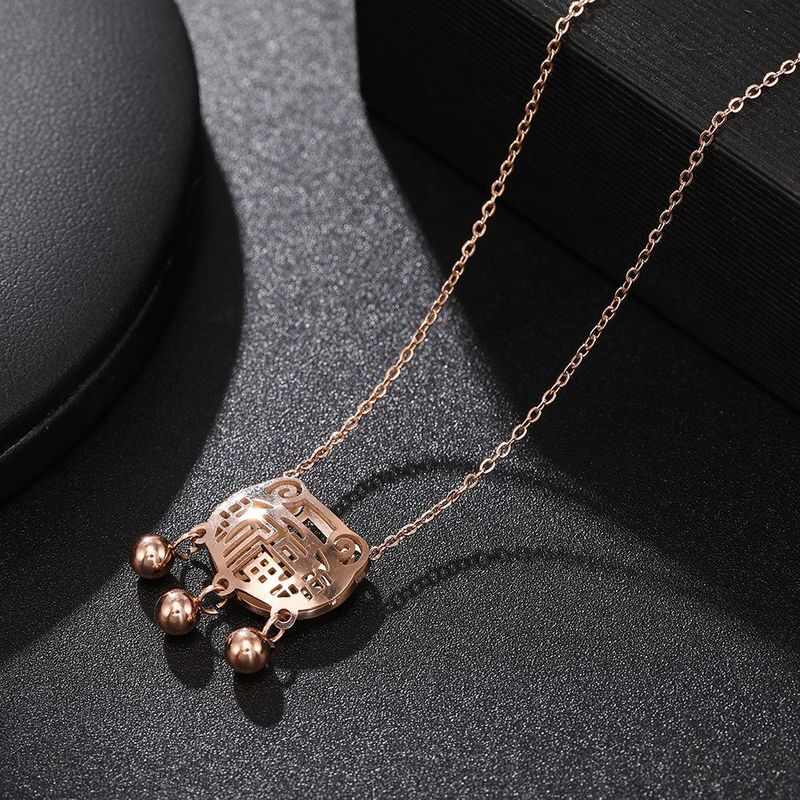 Fu Suo Necklace Longevity Lock Jewelry Stainless Steel Fade-Free Clavicle Chain Wholesale NHJJ206719
