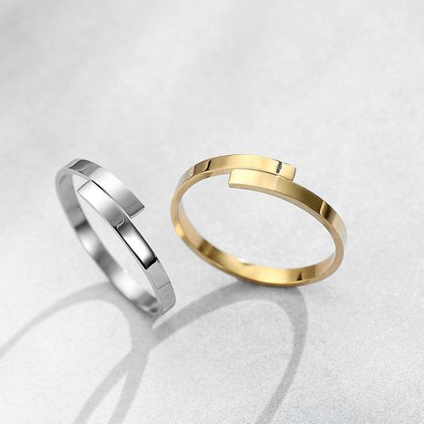 New Fashion Simple Glossy Ring 18K Gold Plated Open Ring Stainless Steel Couple Ring NHJJ206724's discount tags