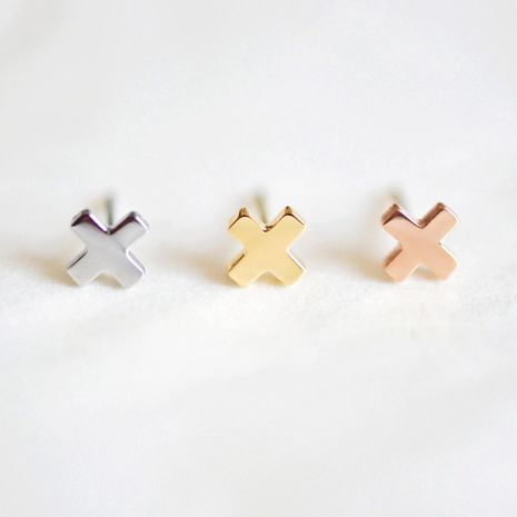 New earrings titanium steel minimalist bright cross stainless steel earrings simple Korean earrings NHJJ206733's discount tags