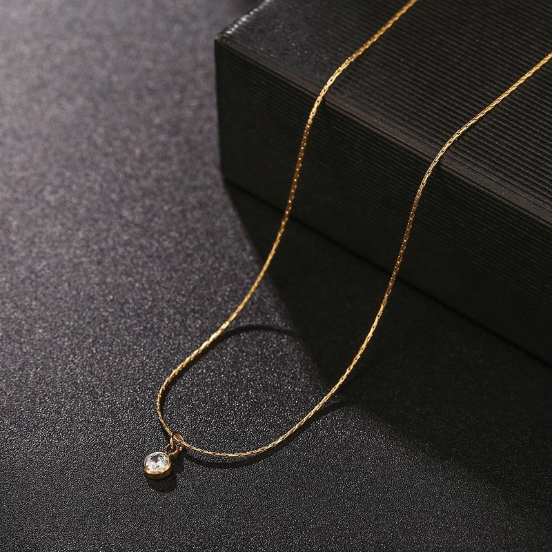 Korean titanium steel zircon clavicle chain diamond zircon 18K stainless steel short paragraph chain female NHJJ206740