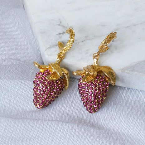 New Fashion Pink Fruit Diamond Strawberry Earrings New Exaggerated Earrings NHJJ206744's discount tags