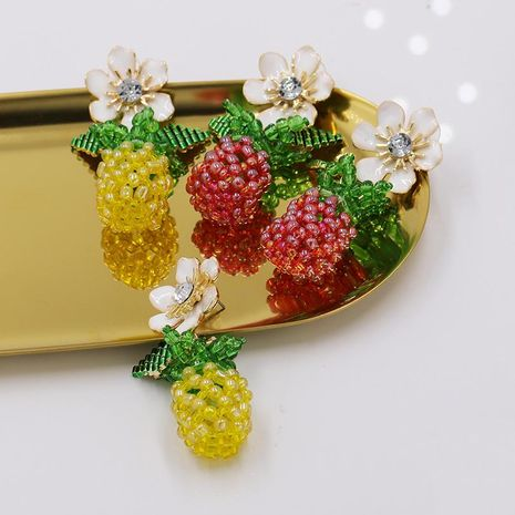 New woven crystal beaded fruit pineapple earrings wholesale NHJJ206747's discount tags