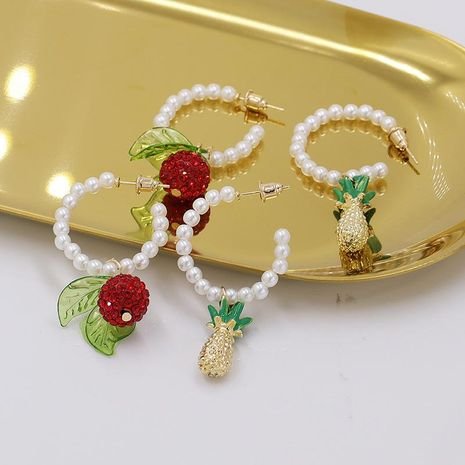 New Fashion Pineapple Red Fruit Irregular Stone Pearl Earrings Wholesale NHJJ206748's discount tags